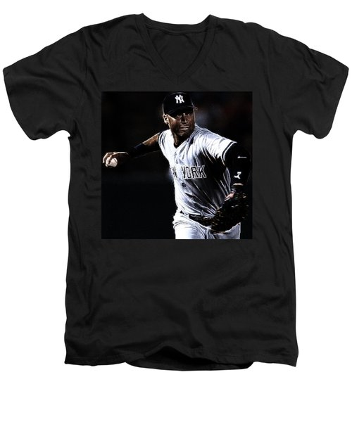 Derek Jeter Men's V-Neck T-Shirt by Paul Ward
