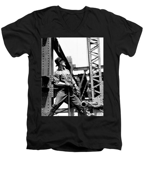 Derrick Man   Empire State Building Men's V-Neck T-Shirt by LW Hine