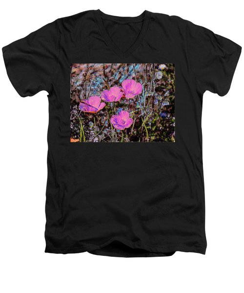 Men's V-Neck T-Shirt featuring the photograph Desert Flowers Abstract by Penny Lisowski