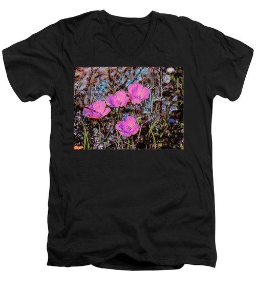 Desert Flowers Abstract Men's V-Neck T-Shirt