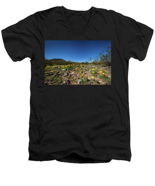 Men's V-Neck T-Shirt featuring the photograph Desert Flowers In Spring by Ed Cilley