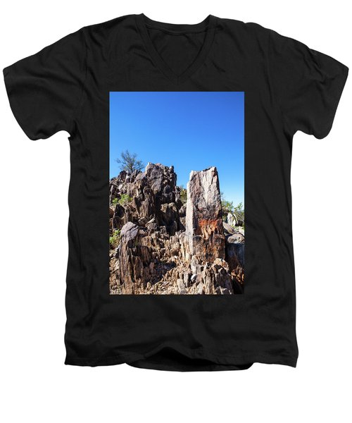 Men's V-Neck T-Shirt featuring the photograph Desert Rocks by Ed Cilley