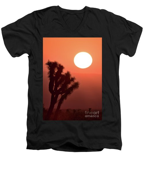 Men's V-Neck T-Shirt featuring the photograph Desert Sunrise by Vincent Bonafede