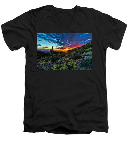 Desert Sunset Hdr 01 Men's V-Neck T-Shirt