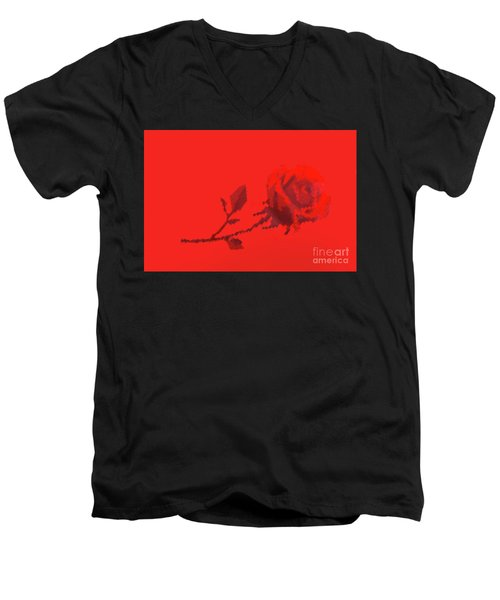 Men's V-Neck T-Shirt featuring the photograph Designer Red Rose by Linda Phelps