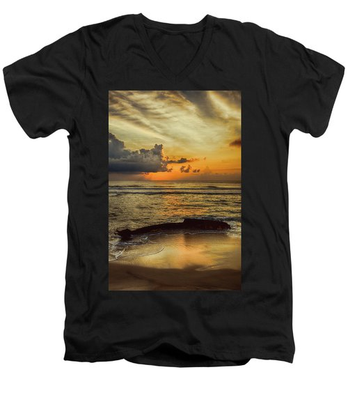 Men's V-Neck T-Shirt featuring the photograph Destruction Of An Outer Banks Shipwreck by Dan Carmichael