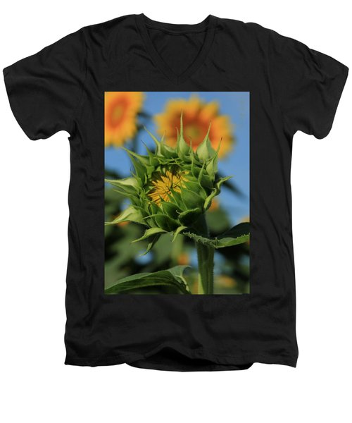 Men's V-Neck T-Shirt featuring the photograph Developing Petals On A Sunflower by Chris Berry