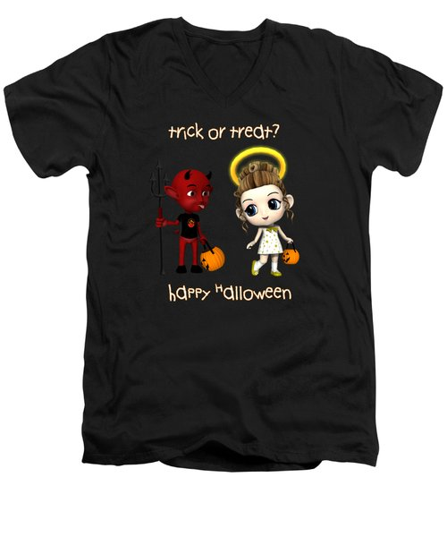 Men's V-Neck T-Shirt featuring the digital art Devil Or Angel Trick Or Treat by Methune Hively
