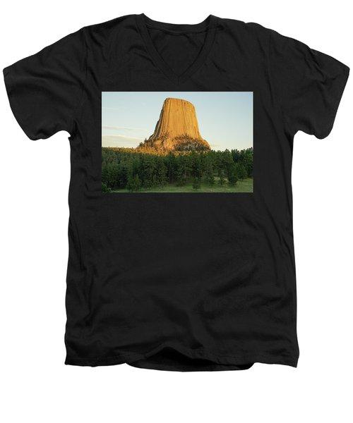 Men's V-Neck T-Shirt featuring the photograph Devils Tower At Sunset by Bill Gabbert