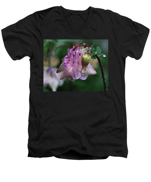 Men's V-Neck T-Shirt featuring the photograph Dewey Morning Columbine by Susan Capuano