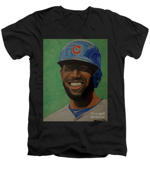 Men's V-Neck T-Shirt featuring the drawing Dexter Fowler Portrait by Melissa Goodrich
