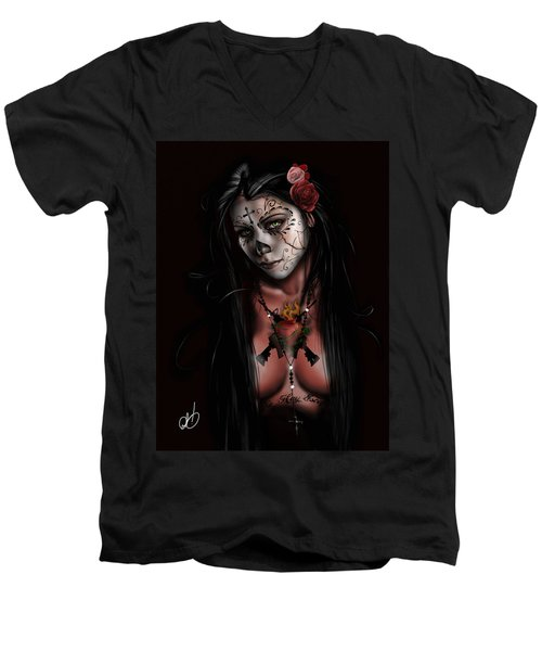 Dia De Los Muertos 3 Men's V-Neck T-Shirt by Pete Tapang