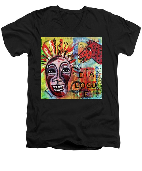 Men's V-Neck T-Shirt featuring the mixed media Dialogue Between Red Dawg And Wildwoman-self by Mimulux patricia no No