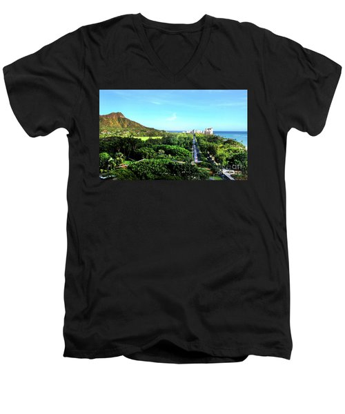 Men's V-Neck T-Shirt featuring the photograph Diamond Head by Kristine Merc