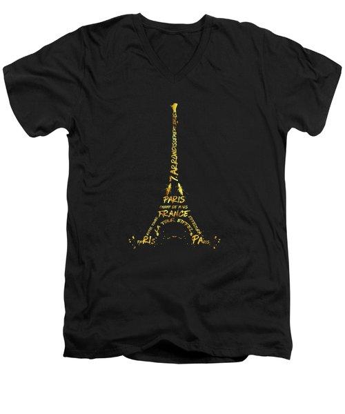 Digital-art Eiffel Tower - Black And Golden Men's V-Neck T-Shirt by Melanie Viola