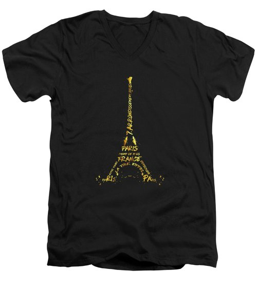 Digital-art Eiffel Tower - Black And Golden Men's V-Neck T-Shirt