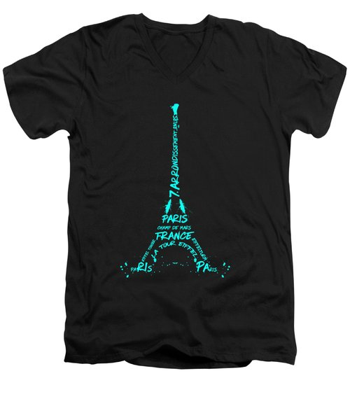 Digital-art Eiffel Tower Cyan Men's V-Neck T-Shirt by Melanie Viola