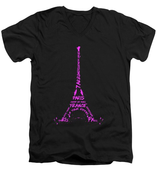 Digital-art Eiffel Tower Pink Men's V-Neck T-Shirt by Melanie Viola