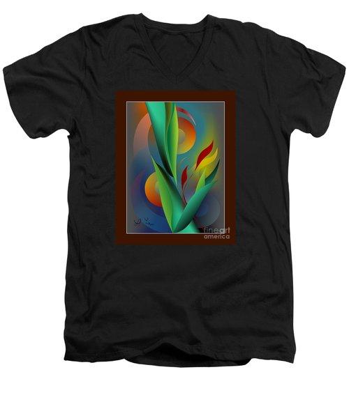 Digital Garden Dreaming Men's V-Neck T-Shirt by Leo Symon
