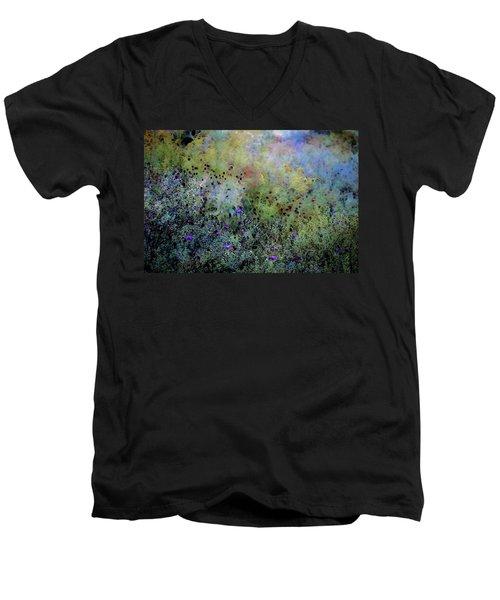 Digital Watercolor Field Of Wildflowers 4064 W_2 Men's V-Neck T-Shirt