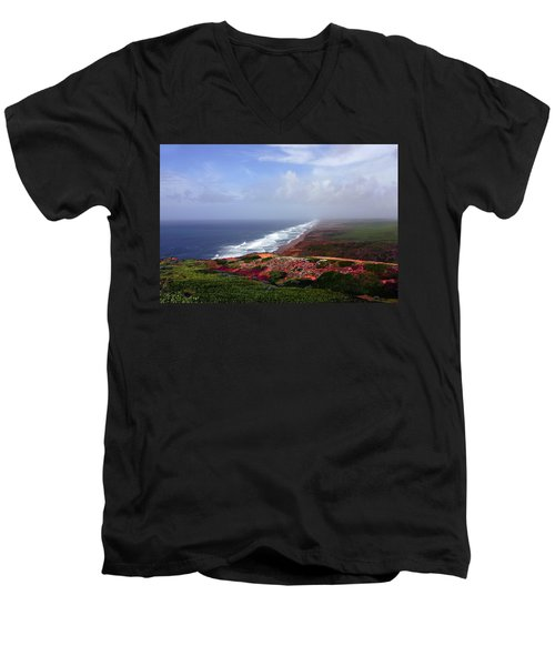 Flowering Beach Point Reyes Lighthouse Bodega Bay Men's V-Neck T-Shirt