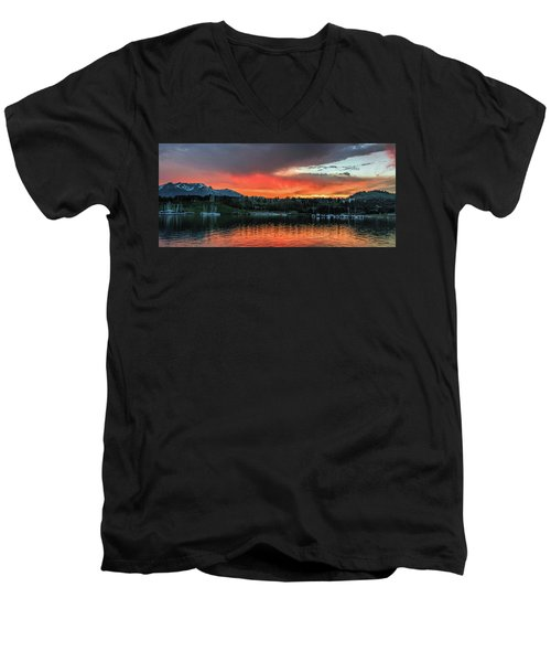 Dillon Marina At Sunset Men's V-Neck T-Shirt