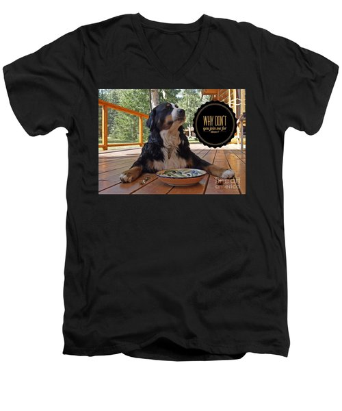 Men's V-Neck T-Shirt featuring the digital art Dinner With My Dog by Kathy Tarochione