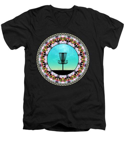 Disc Golf Basket Men's V-Neck T-Shirt by Phil Perkins