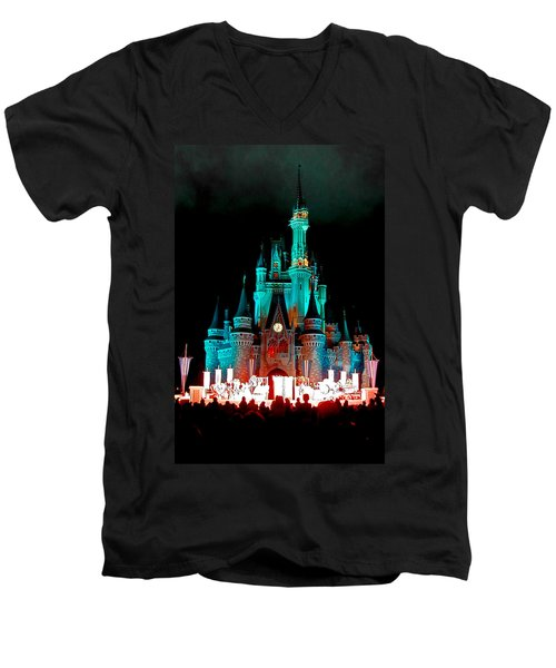 Men's V-Neck T-Shirt featuring the photograph Disney World Night by John Haldane