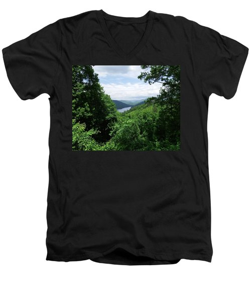 Distant Mountains Men's V-Neck T-Shirt by Cathy Harper