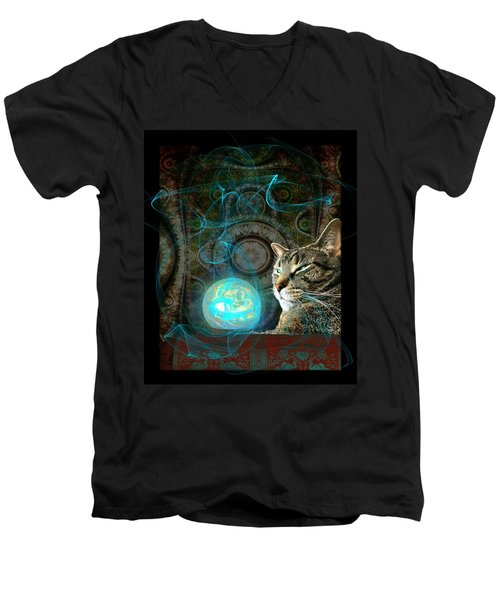 Men's V-Neck T-Shirt featuring the digital art Divination by Anastasiya Malakhova
