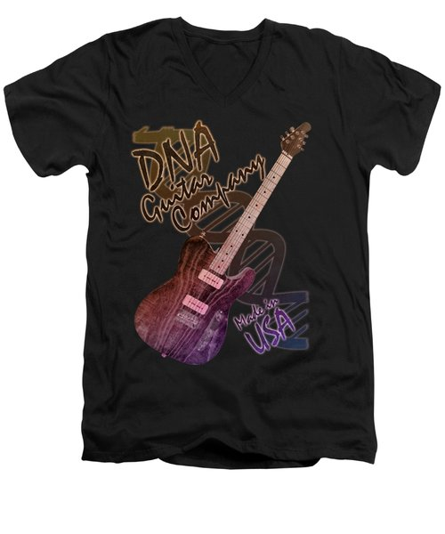 Dna Guitar Company T Shirt 2 Men's V-Neck T-Shirt by WB Johnston