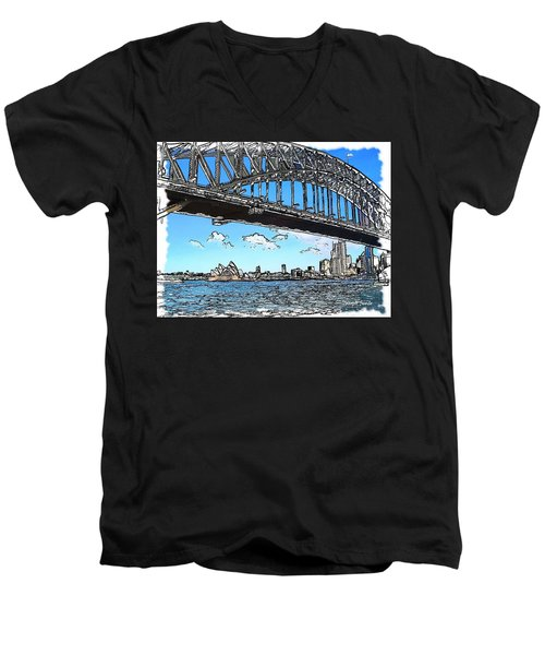 Men's V-Neck T-Shirt featuring the photograph Do-00058 Sydney Harbour Bridge And Opera House by Digital Oil