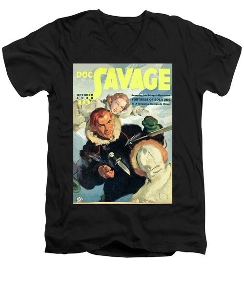 Doc Savage Fortress Of Solitude Men's V-Neck T-Shirt