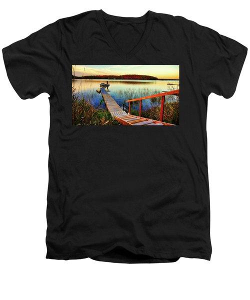 Dock At Gawas Bay Men's V-Neck T-Shirt