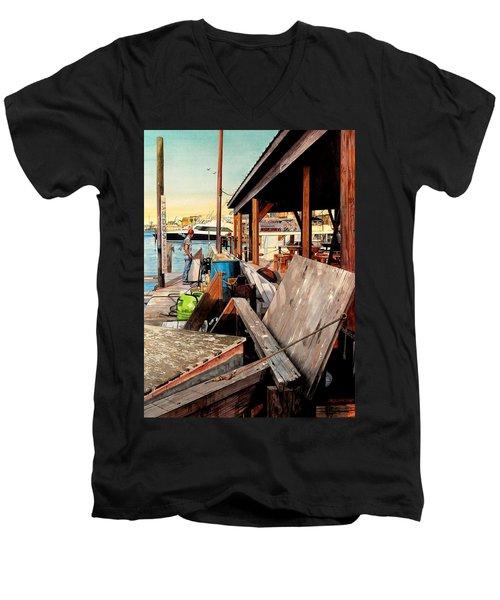 Docks At Port Aransas Men's V-Neck T-Shirt