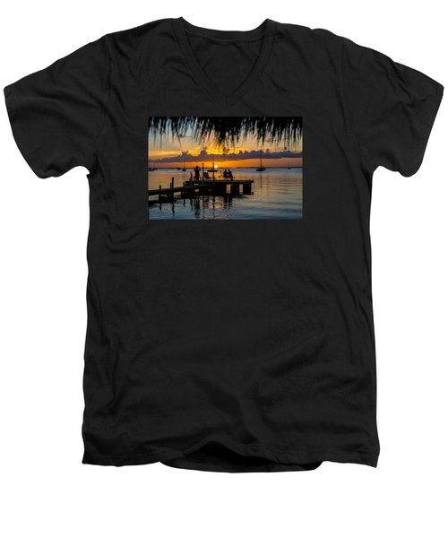 Docktime Men's V-Neck T-Shirt by Kevin Cable