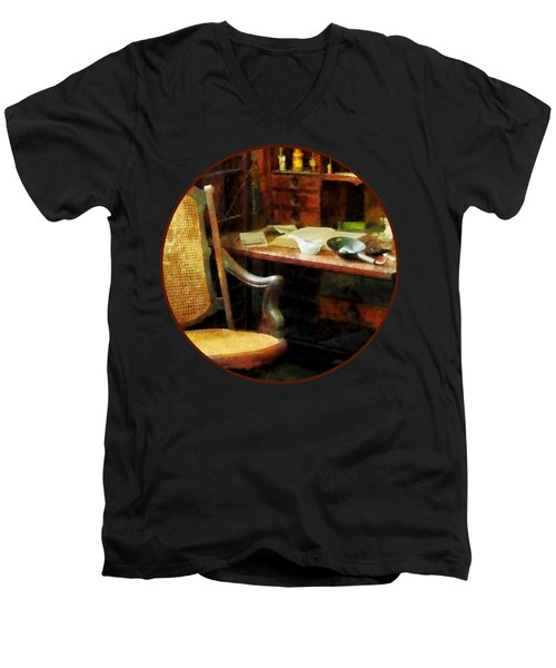 Men's V-Neck T-Shirt featuring the photograph Doctor - Doctor's Office by Susan Savad