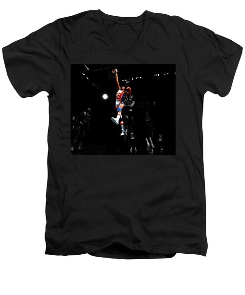 Doctor J Over The Top Men's V-Neck T-Shirt by Brian Reaves