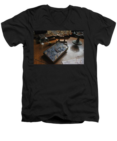 Men's V-Neck T-Shirt featuring the relief Doctor Who Steampunk Journal  by Reina Resto