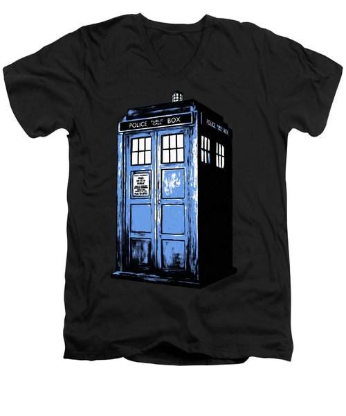 Doctor Who Tardis Men's V-Neck T-Shirt by Edward Fielding