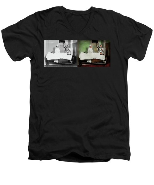 Men's V-Neck T-Shirt featuring the photograph Doctor - Xray - Getting My Head Examined 1920 - Side By Side by Mike Savad