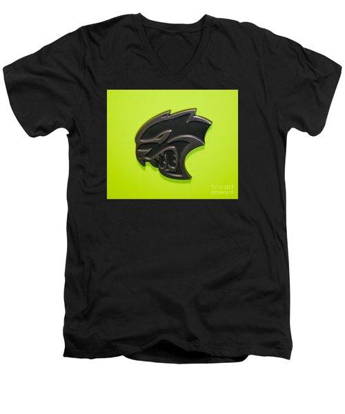 Dodge Challenger Srt Hellcat Emblem Men's V-Neck T-Shirt by Pamela Walrath