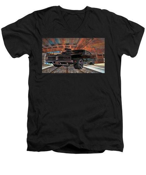 Dodge Charger R/t 1969 Hemi Men's V-Neck T-Shirt by Louis Ferreira