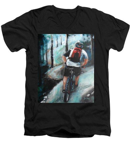Dodging Trees Men's V-Neck T-Shirt by Donna Tuten