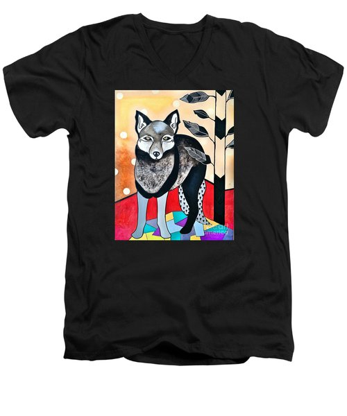 Men's V-Neck T-Shirt featuring the painting Dog by Amy Sorrell