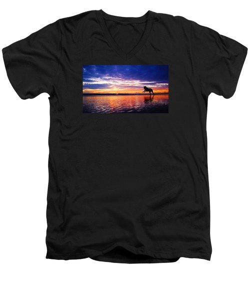 Dog Chasing Stick At Sunrise Men's V-Neck T-Shirt