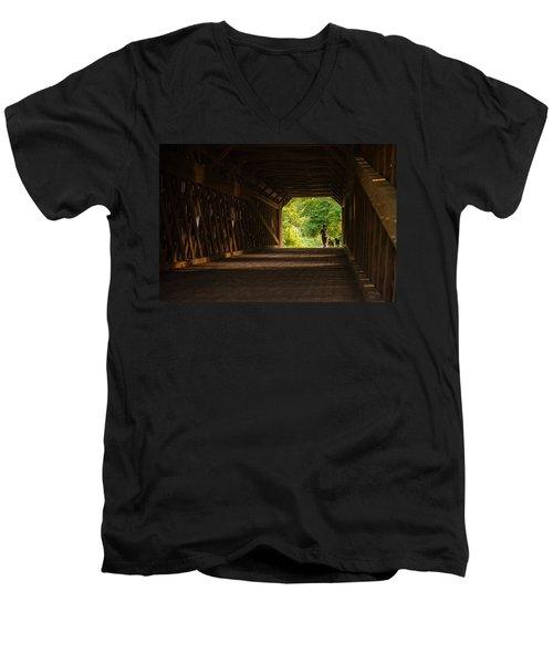 Men's V-Neck T-Shirt featuring the photograph Dog Walking by Kristopher Schoenleber