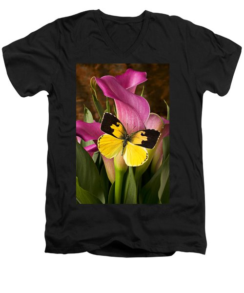 Dogface Butterfly On Pink Calla Lily  Men's V-Neck T-Shirt