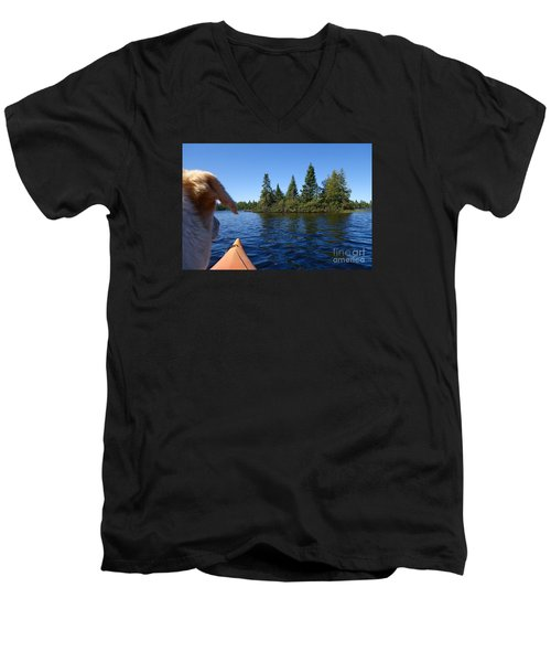 Men's V-Neck T-Shirt featuring the photograph Dogs Love Kayaking Too by Sandra Updyke